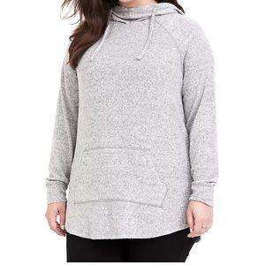 Torrid soft plush grey cowl neck hoodie plus Sz 2.